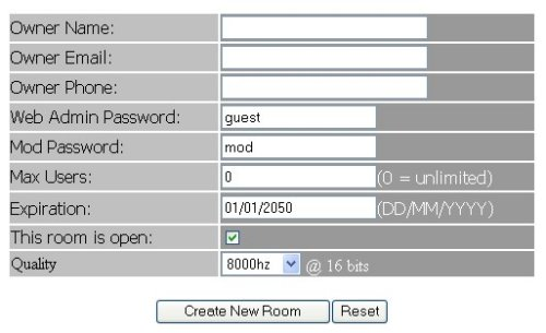 Virtual Server New Room Form